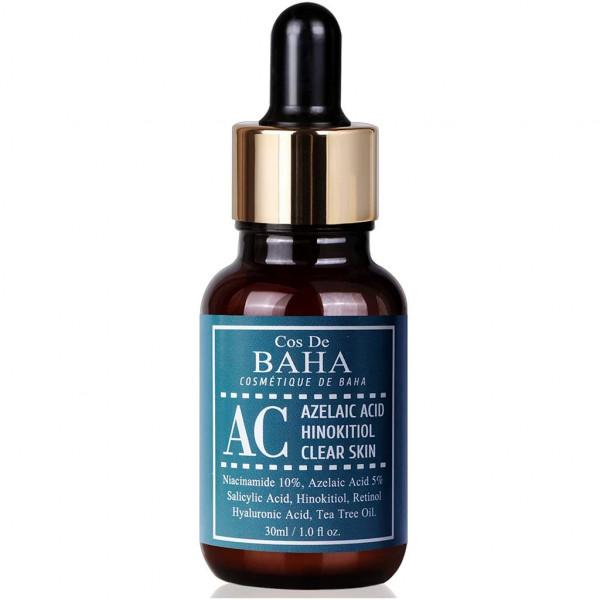 Сыворотка против акне Cos de Baha Acne Treatment Serum Azelaic acid 5%, Hinokitiol, Niacinamide 10%, Salicylic Acid, Retinol, Tea Tree, 30 мл картинка