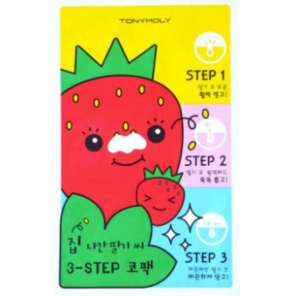 Набор патчей от черных точек TonyMoly Runaway Strawberry Seeds 3 Step Nose Pack