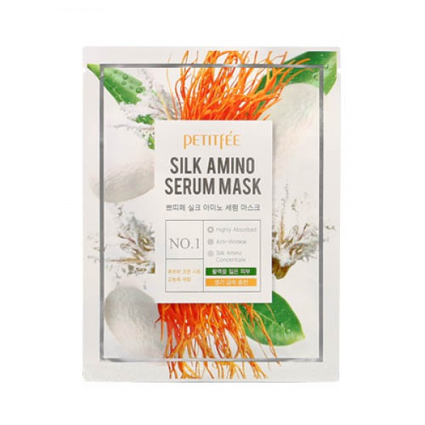 Маска для лица с протеинами шелка PETITFEE Silk Amino Serum Mask картинка