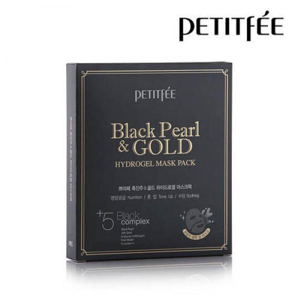 Гидрогелевая маска с золотом и черным жемчугом PETITFEE Black Pearl & Gold Hydrogel Mask Pack - 5шт картинка