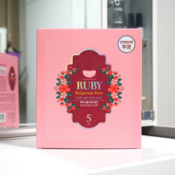 Гидрогелевая маска для лица с рубином KOELF Ruby & Bulgarian Rose Hydro Gel Mask упаковка картинка